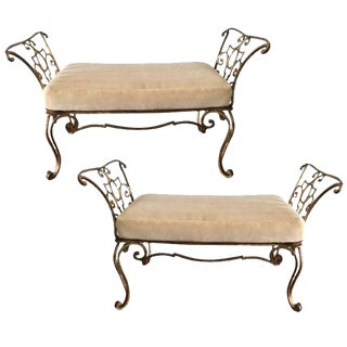 Jean Charles Moreux Gilt Iron Mohair Cushion Benches - a Pair For Sale