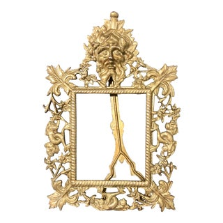 Late 19th Century Antique Brass Picture Frame For Sale