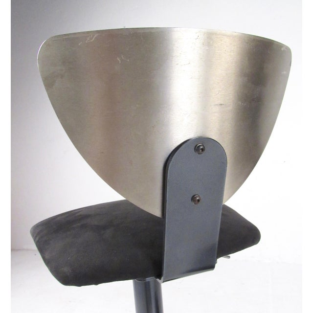 Metal Pair Industrial Metal Bar or Counterl Stools For Sale - Image 7 of 13