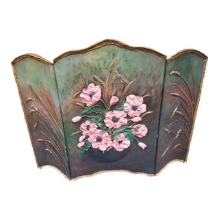Antique Floral and Wheat Half Screen For Sale