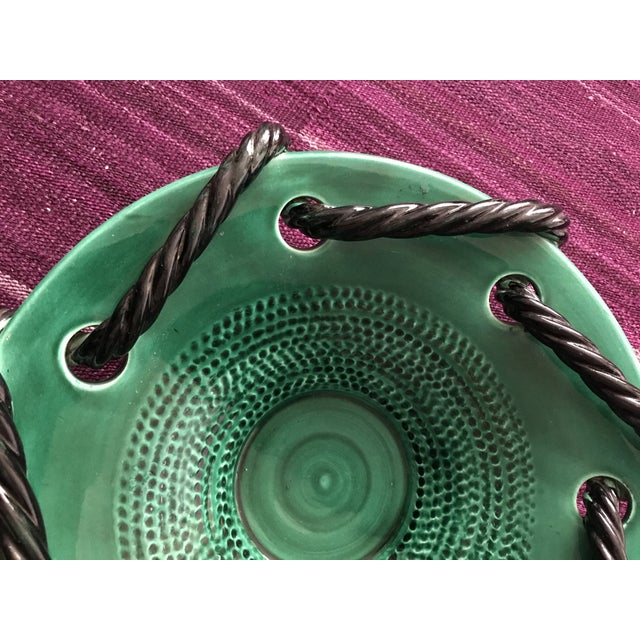 Mid 20th Century Vallauris Green and Black Mid Century Bowl For Sale In New York - Image 6 of 10