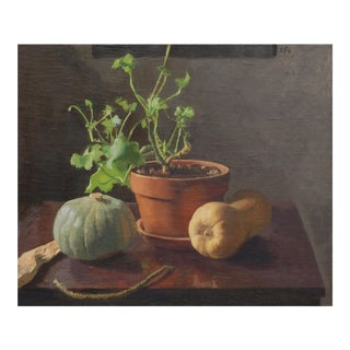 Winter Squash & Geranium Plant - Still Life Oil Painting