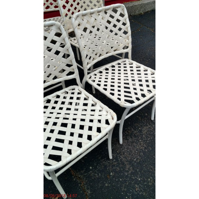Hollywood Regency Tropitone 70s Style of Brown and Jordan Cross Strap Patio Chairs - Set of 6 For Sale - Image 3 of 6
