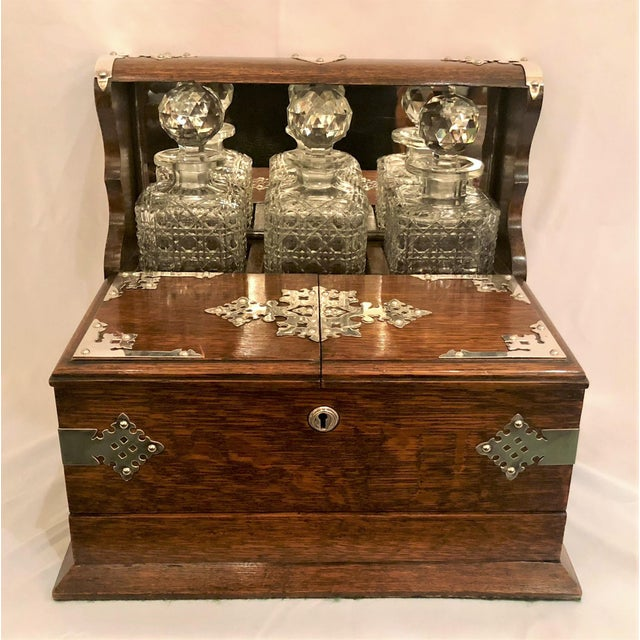 Antique English Golden Oak Games Box Tantalus, Circa 1880. For Sale In New Orleans - Image 6 of 6