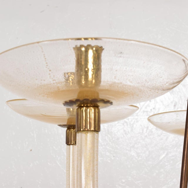 1950s Mid Century Sculptural Modern Italian Murano Chandelier Five Arms For Sale - Image 5 of 11