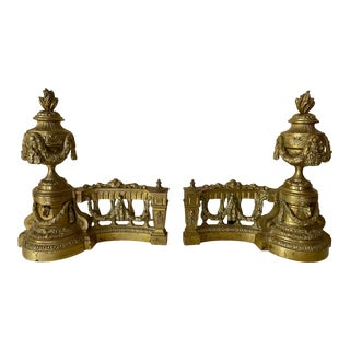Antique French Bronze Chenets/Andirons - a Pair For Sale