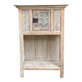 19th Century French Carved Oak Gothic Cabinet Bookcase Shelf Bleached Farmhouse Kitchen For Sale