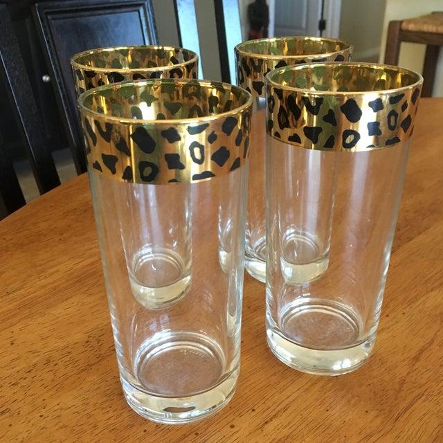 Italian Black & Gold Cheetah Print Glasses - Set of 4 - Image 7 of 10