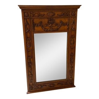 Art Nouveau Carved Wooden Framed Mirror For Sale