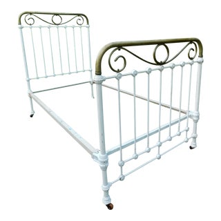 Antique Brass & White Metal Twin / Daybed For Sale