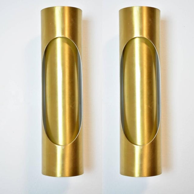 A pair of Spanish gold-tone metal tubular sconces, with two Edison base sockets. Newly wired for US use, with new painted...