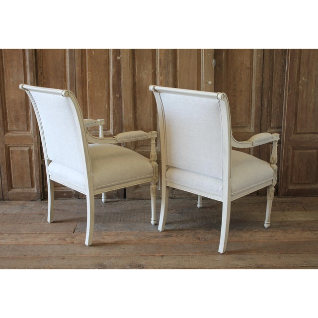 20th Century Napoleon Style Upholstered Open Arm Chairs- A Pair For Sale - Image 10 of 13