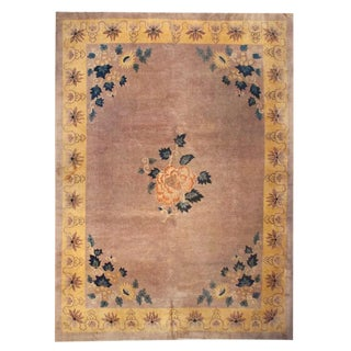 Chinese Art Deco Peony Medallion Rug - 9′ × 12' For Sale