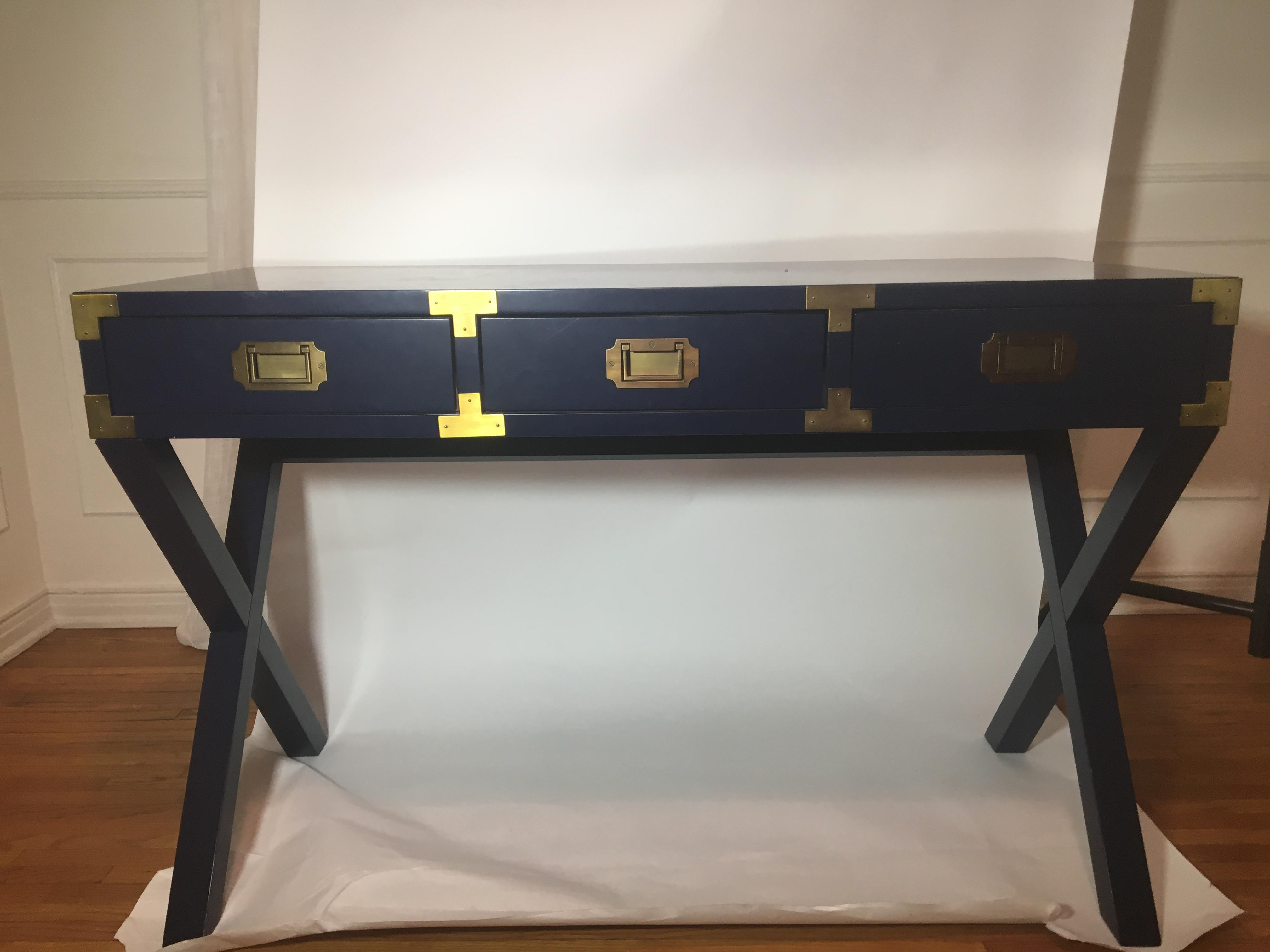 Bon Brass Navy Campaign Desk For Sale   Image 7 Of 7