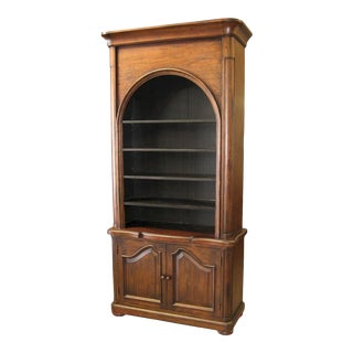 Bookcase French Provincial Distressed Walnut For Sale
