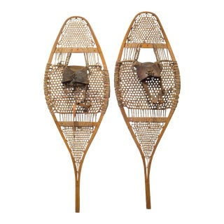 Antique Wood and Leather Snow Shoes C.1920 For Sale