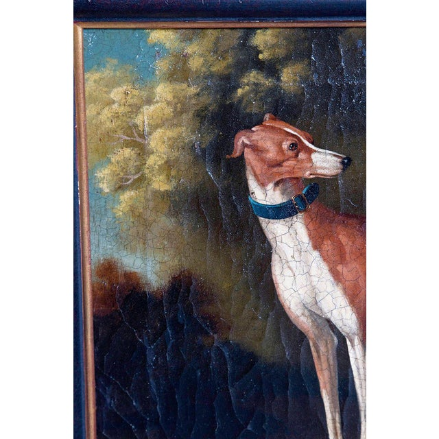 Canvas 19th Century English Oil on Canvas of Whippet in a Landscape For Sale - Image 7 of 13