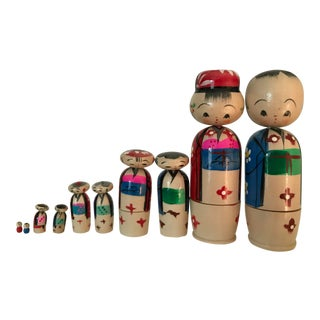 Vintage Japanese Nesting Kokeshi Dolls For Sale
