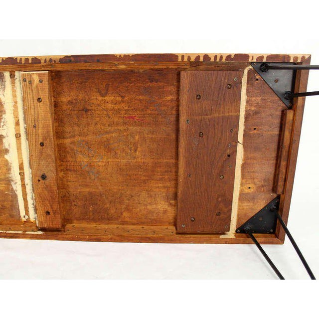 Large Rectangular Vintage Solid Birch-Top with Hairpin Leg Coffee Table For Sale In New York - Image 6 of 7