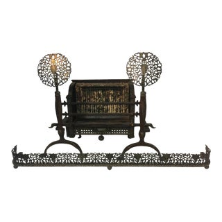 1910s Ernest Gimson (Attributed) Cotswold School stylized Foiliate Cotswold School Andirons and Surround For Sale