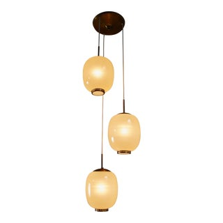 Rare Bent Karlby striped glass chandelier, Denmark, 1950s For Sale