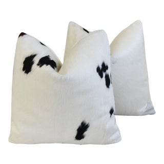 """Brazilian Cowhide & Cotton Feather/Down Pillows 21"""" X 21"""" - - a Pair For Sale"""