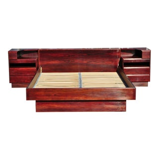 Danish Modern Scan Coll Rosewood Queen Platform Storage Bedframe For Sale