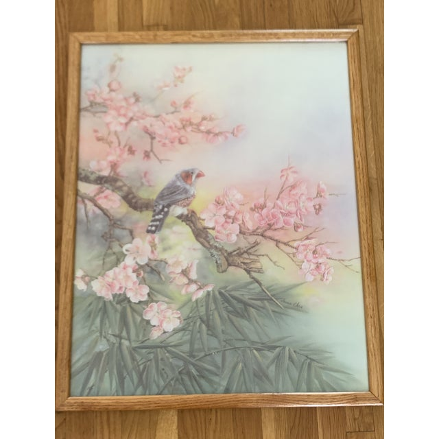 Large Vintage Watercolor Pastel Bird & Cherry Blossom Wall Art For Sale In Los Angeles - Image 6 of 10