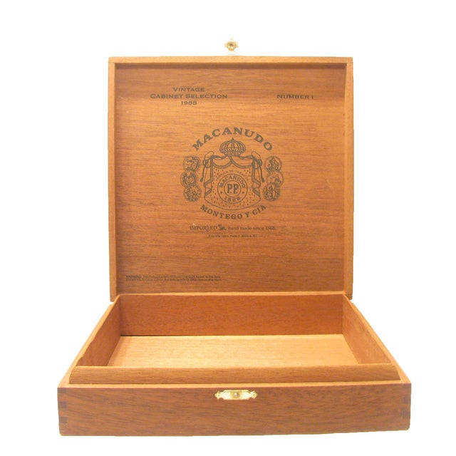 1980s Jamaican Vintage Mahogany Cigar Box For Sale - Image 5 of 5