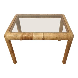 Vintage Billy Baldwin Style Wrapped Rattan End / Side Table With Glass Top