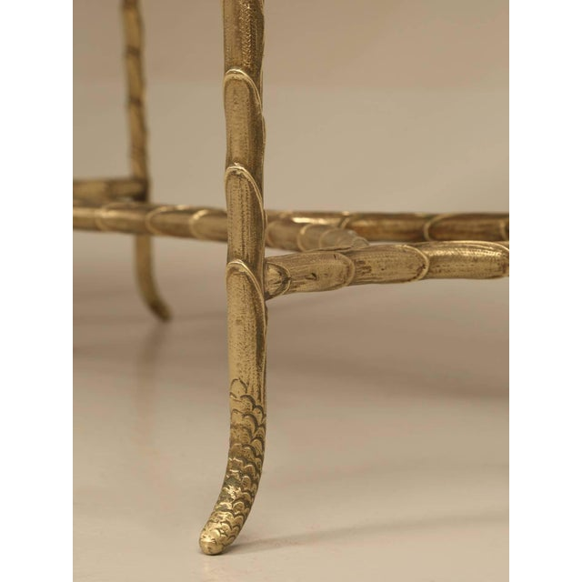 Gold French Bronze Bamboo Style Coffee Table Attributed to Bagues For Sale - Image 8 of 9