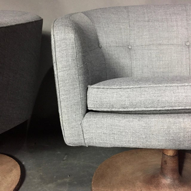 Pair 1960s Jens Risom Barrel-Back Swivel Chairs For Sale - Image 10 of 13