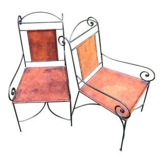 Mid Century Iron & Leather Armchairs - A Pair