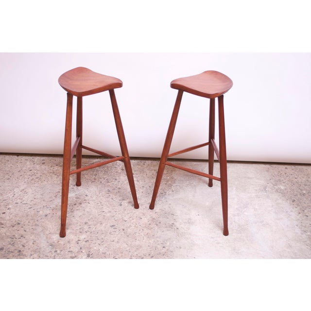 Vintage Solid Walnut Studio Craft Bar Stools by David Scott - a Pair For Sale - Image 13 of 13