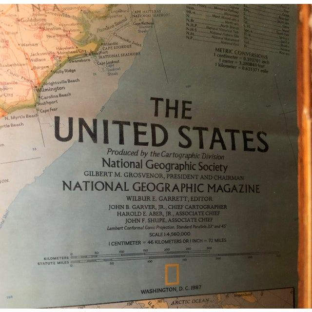 Vintage Framed Printed Map of the United States For Sale - Image 4 of 6
