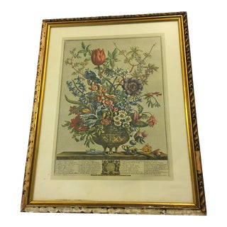 """Mid 20th Century """"February Flowers"""" Engraving After Fletcher, Framed For Sale"""
