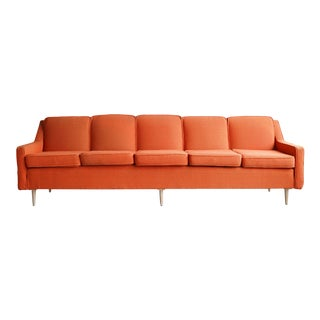 Orange Sofa With Maple Feet For Sale