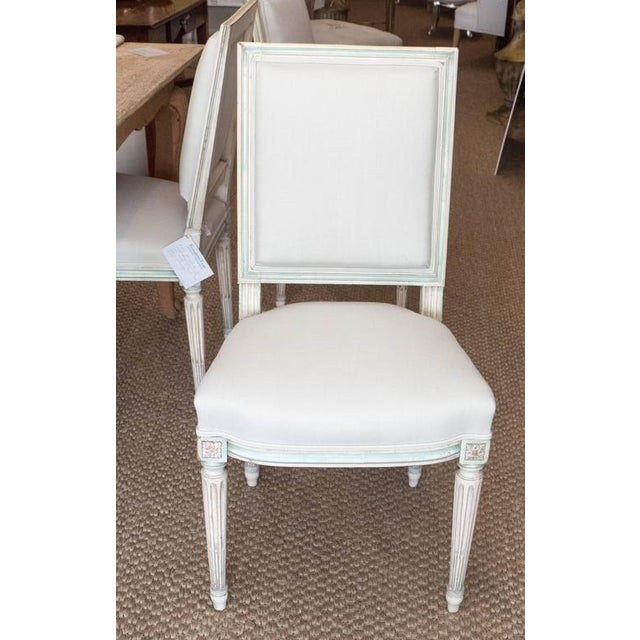 Gray Louis XVI Style Dining Chairs - Set of 6 For Sale - Image 8 of 9