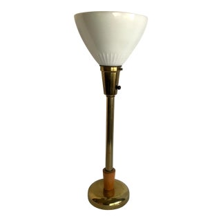 Antique Torchiere Brass Lamp With Milk Glass Shade For Sale