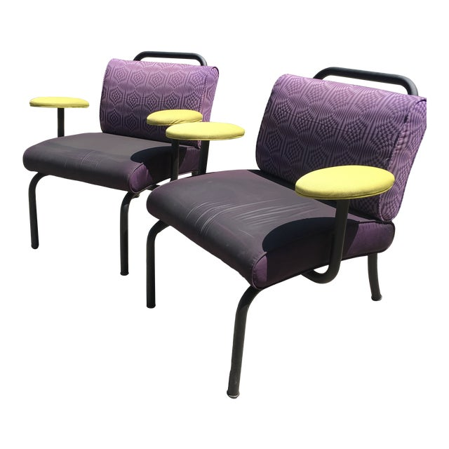 1980s 1990s Memphis Modern Style Club Chairs - a Pair For Sale
