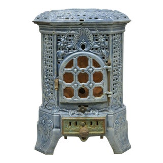French Art Deco Lily Cast Iron Blue Porcelain Heater Stove Deville Charleville For Sale