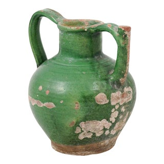 19th Century French Provincial Distressed Green Glazed Pottery Jug For Sale