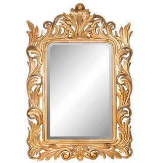 19th Century Italian Rococo Gilt Carved Mirror For Sale