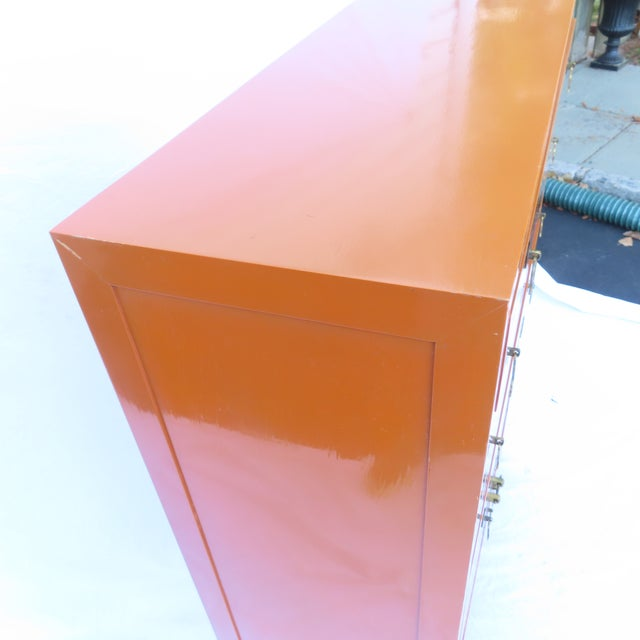 Vtg 1970s Chinese Lacquered Burnt Orange Tall Chest Dresser Cabinet Hong Kong For Sale - Image 10 of 13