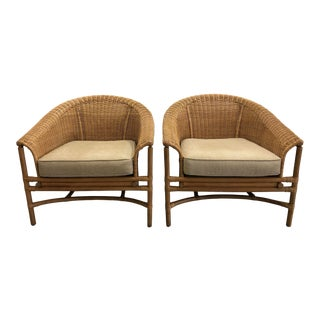 Rattan Basket Wicker Rolled Arm Lounge Chairs - a Pair For Sale