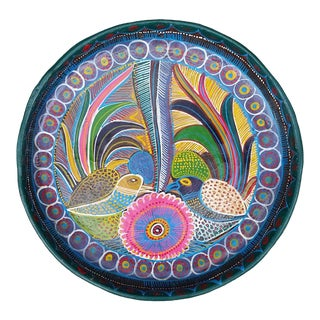Vintage Mexican Redware Folk Art Abstract Birds Hanging Plate For Sale
