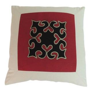 Handmade Cotton Appliqué Thai Yao Textile Vintage Decorative Pillow For Sale