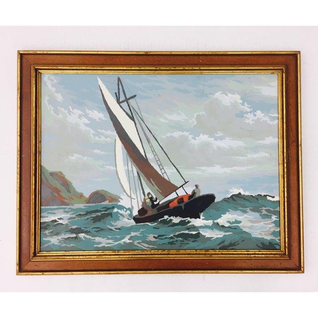 Arts & Crafts Vintage Seascape Painting in Gilt Trim Frame For Sale - Image 3 of 5
