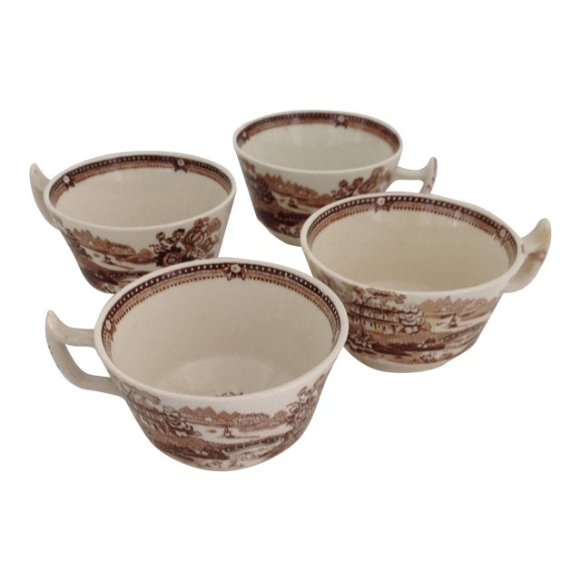 Brown and White Staffordshire Coffee Cups - Set of 4 For Sale