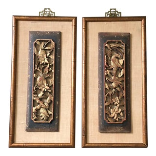 Carved Chinoiserie Wall Panels, Pair For Sale